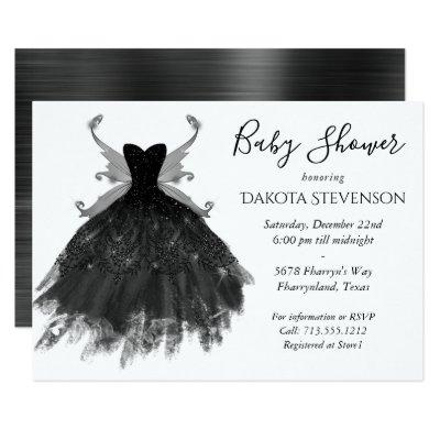 Goth Glamour Black Pixie Wing Gown | Baby Shower Invitation