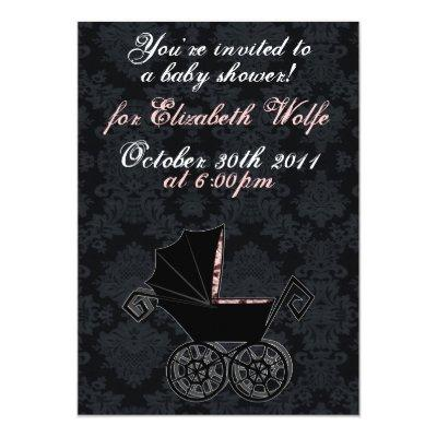 'Gothic Baby Carriage- Girl' Invitation