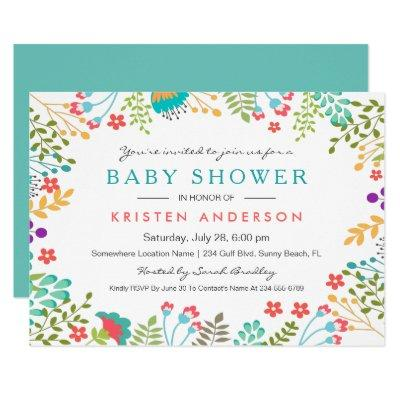 Graceful Tiffany Blue Floral Cute Baby Shower Invitation