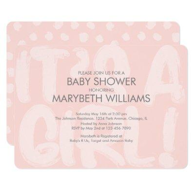 Graffiti Pink Baby Shower Invitation