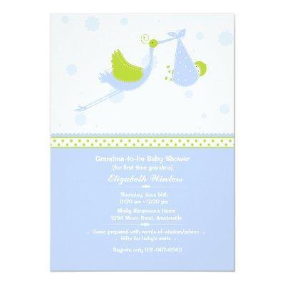 Grandma's First (Blue) Baby Shower Invitations