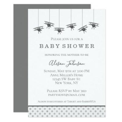 Gray Airplanes Baby Shower Invitation
