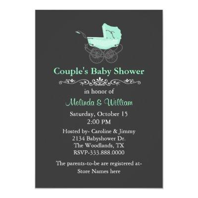 Gray and Mint Green Vintage Couple's Invitations