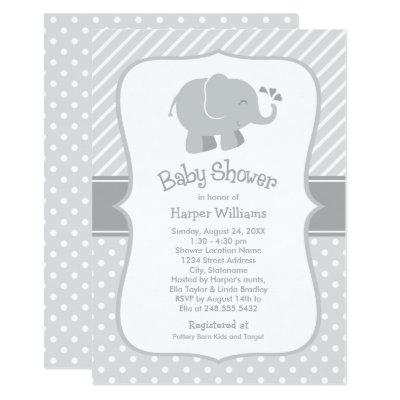 Gray and White Elephant | Modern Baby Shower Invitations