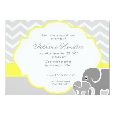 Two birds baby shower invitations baby shower invitations gray chevron elephants lemon neutral filmwisefo
