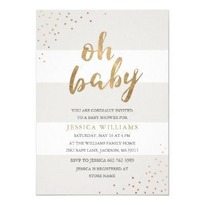 Gray & Gold Stripes Confetti Oh Baby Shower Invite
