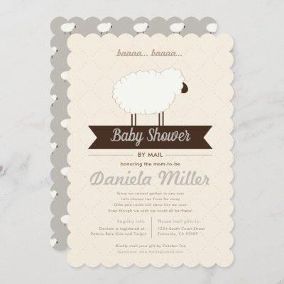 Gray Little Lamb Baby Shower by Mail Invitation