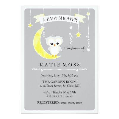 Gray Little Owl   Baby Shower Invitation