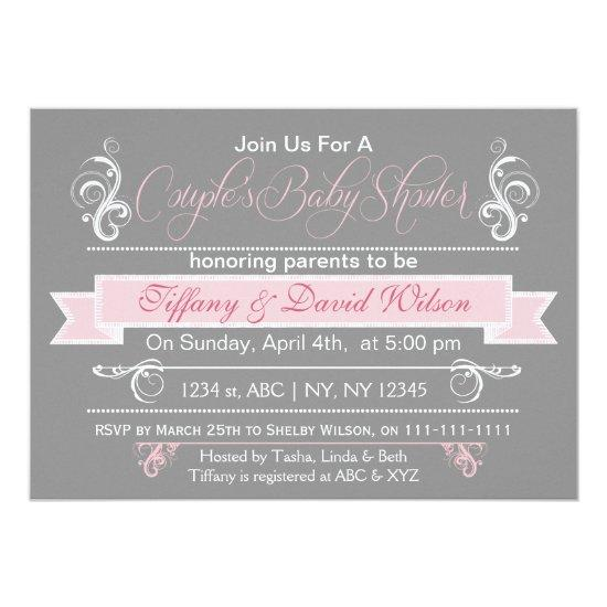 gray pink Couple's Baby shower Invitation