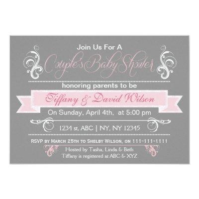 gray pink Couple's Invitations