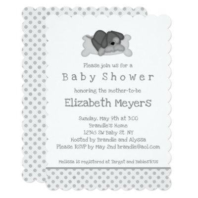Gray Sleeping Puppy Baby Shower Invitation