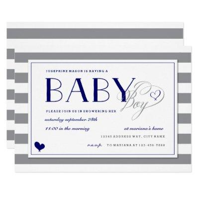 Gray Stripe Baby Boy Shower and Navy Blue Invitations