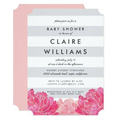 Gray Stripe & Pink Peony Invitations