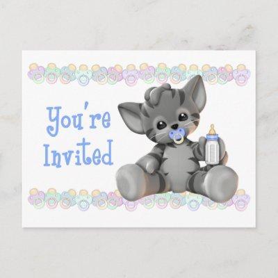 Gray Tiger Kitten Blue Baby Shower Invitation