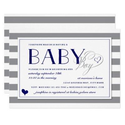 Gray & White Stripe Baby Boy Navy Blue Baby Shower Invitation