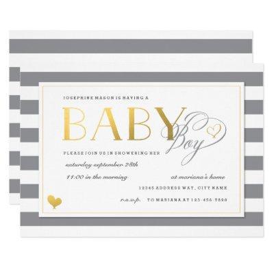 Gray & White Stripe Faux Gold Boy Baby Shower Invitation