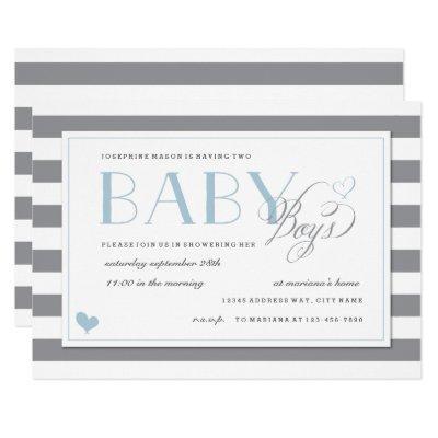 Gray & White Stripe Twins Baby Boy Shower Blue Invitations