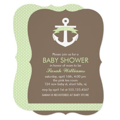 Green Anchor Nautical Neutral Baby Shower Invitation