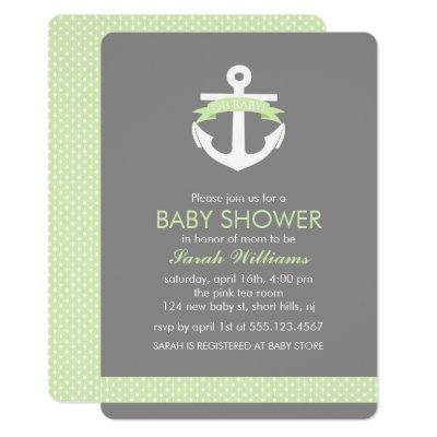 Green Anchor Nautical Theme Baby Shower Invitation