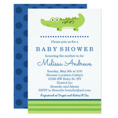 Green and Blue Alligator Baby Shower Invitations