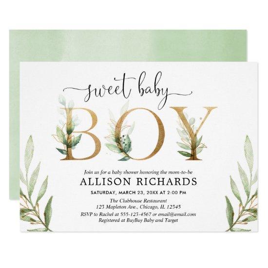 Green and gold greenery modern boy baby shower invitation