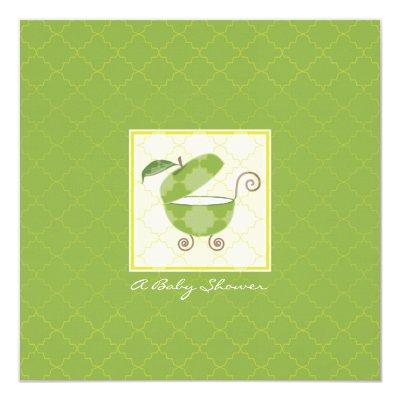 Green Apple Baby Carriage Shower Invitations