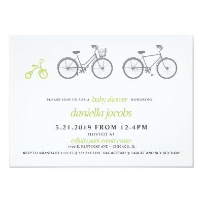 Green Bicycle Baby Shower Invitation