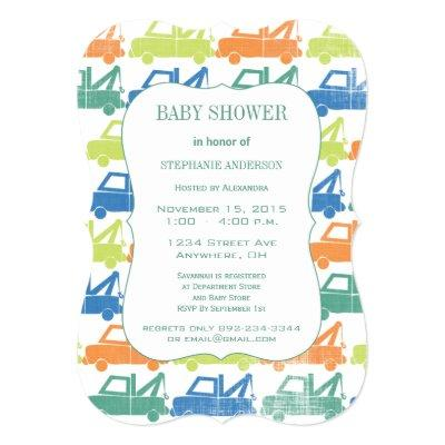 Green Blue Baby Boy Tow Truck Pattern Invitations