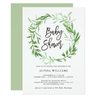 Green Botanical Leaves Wreath Baby Shower Invitation