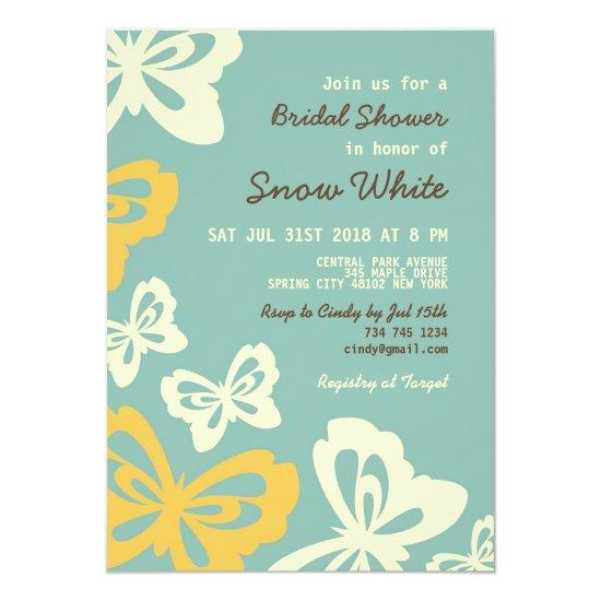 green butterfly bridal shower wedding invitations
