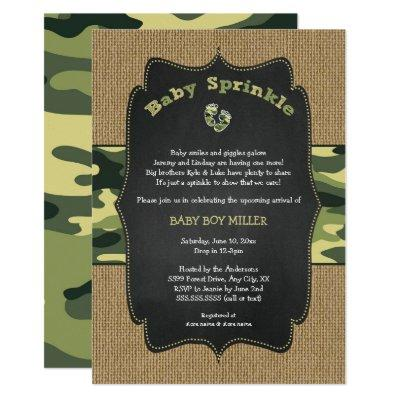 Green Camo Baby Sprinkle Invite, camouflage burlap Invitations