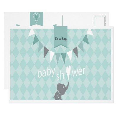 Green Check Baby Shower Postcard