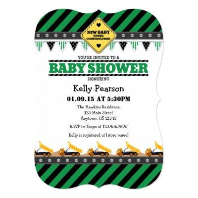 Green Construction Baby Shower Invitations