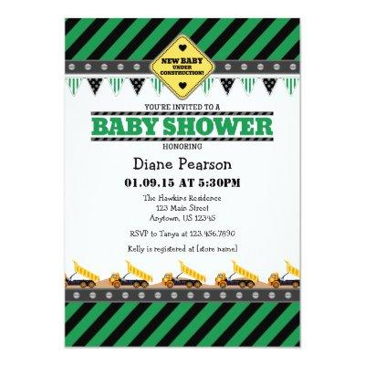 Green Construction Baby Shower Invitation