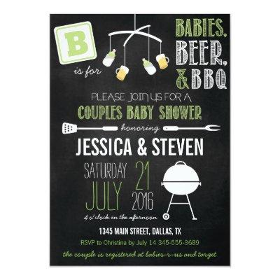 Green Couples BBQ Invitations