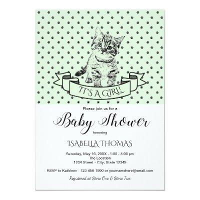Green Cute Kitten Baby Shower Invitations