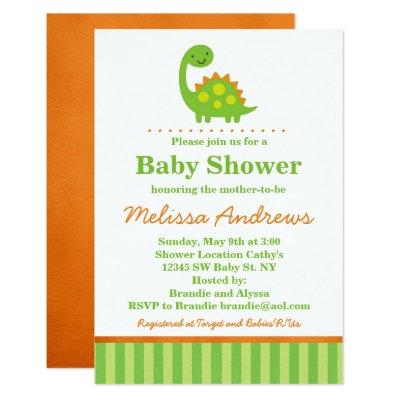 Green Dinosaur Baby Shower Invitation