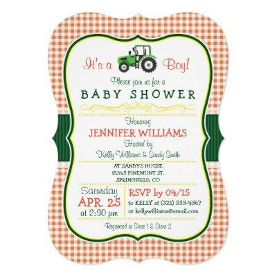 Green Farm Tractor Boy Invitations