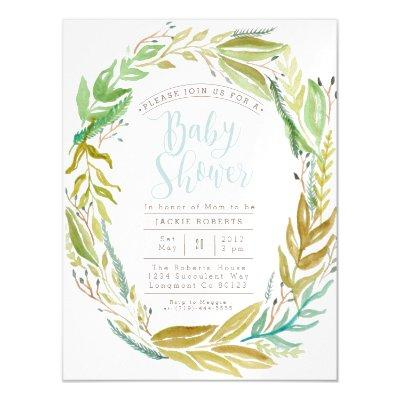 Green Garden | Watercolor Baby Shower Magnetic Magnetic Invitation