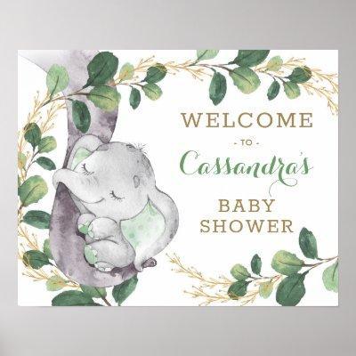 Green Gold Greenery Eucalyptus Elephant Welcome Poster