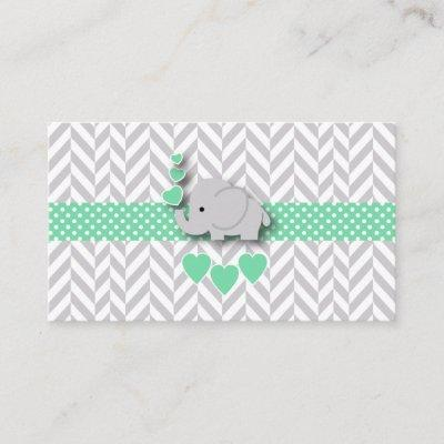 Green Gray Elephant Baby Shower Diaper Raffle Enclosure Card