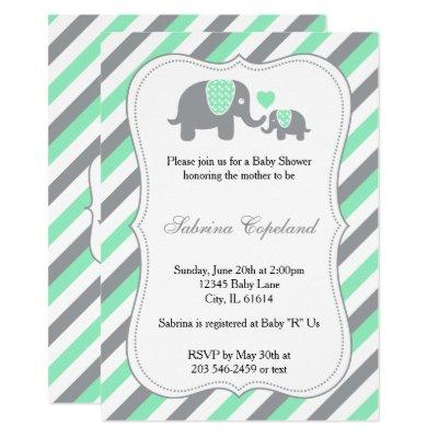 Green & Gray Stripes Baby Elephant | Baby Shower Invitation