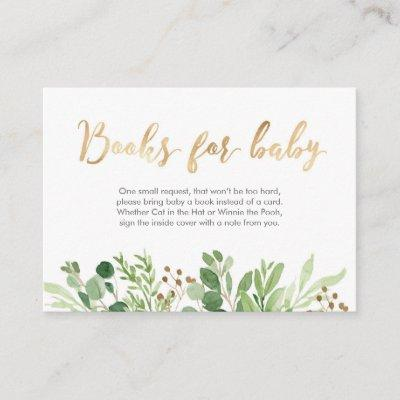 Green leaves Books for baby Baby Shower Card