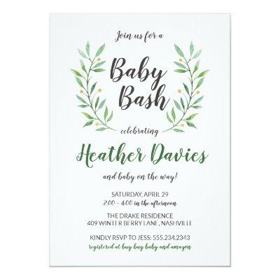 Green Leaves Gender Neutral Baby Shower Invitations