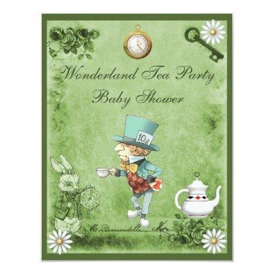 Green Mad Hatter Wonderland Tea Party Baby Shower Invitation