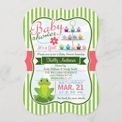 Green, Pink, and White Frog Theme Baby Shower Invitation
