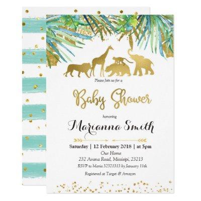 Green Safari Jungle Baby Shower Invitation card