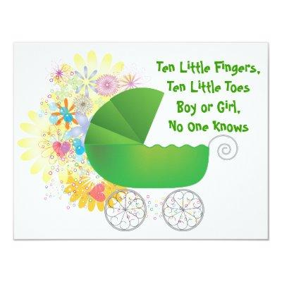Green Stroller Invitations
