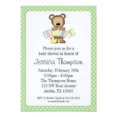 Green Teddy Bear Blocks Invitations