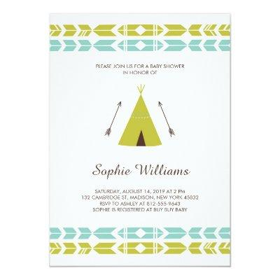 Green Tribal Teepee Invitations